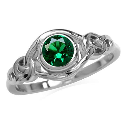 Silvershake Nano Green Emerald White Gold Plated 925 Sterling Silver Celtic Knot Ring Size 9