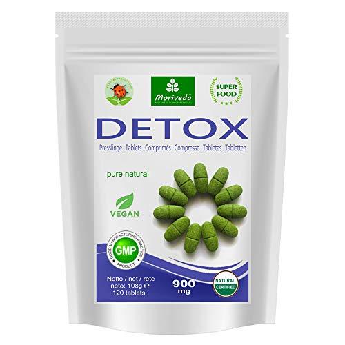MoriVeda® - Moringa Detox 900mg Tabletten – 120 oder 360 Stück – Moringa, Gerstengras, Leinsamen und Spirulina zur Entgiftung des Körpers (1x120 Tabletten)