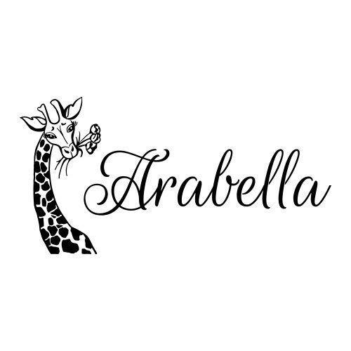 Meisje Naam Muurstickers Giraffe T128 Bestel voor Jade Brook