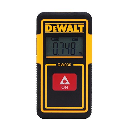 DEWALT DW030PL Lightweight Laser Distance Measurer, 30 ft Range, -1/8 in, LCD Backlit, Li-Ion Battery, Plastic