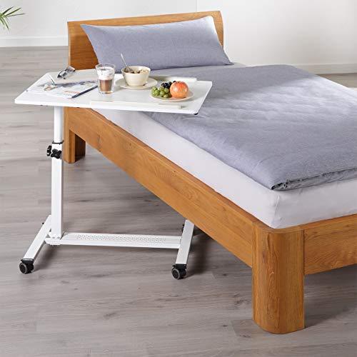 maxVitalis mobiler Betttisch auf Rollen, Beistelltisch höhenverstellbar/breitenverstellbar, Tischplatte neigbar/klappbar, Bett-Beistelltisch für Krankenbett, Pflegebett, Laptoptisch (Weiß)