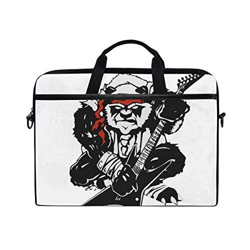 FOURFOOL 15-15.4 inch Laptop Tasche,Verärgerte stilisierte Schwarze Panda Gitarre,Neue Leinwand Drucken Muster Aktentasche Laptop Schulter Messenger Handtasche Case Sleeve