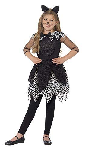 Smiffys Costume chat de minuit, Noir, avec robe, queue et bandeau oreille de chat