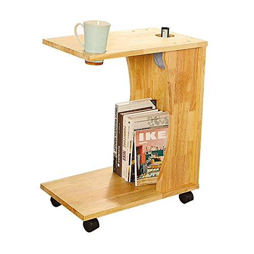 FEI Snack Table Amovible Côté End Couch Table Console Bureau D'ordinateur Portable pour Lit Canapé Manger Écriture Lecture Salon Naturel