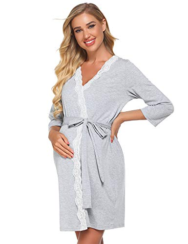 Ekouaer 3 in 1 Short Robe Womens Labor Delivery Nursing Robe Maternity Sleepwear Hospital Nightgown Pregnancy Sleepshirts Bathrobe for Breastfeeding Grey M