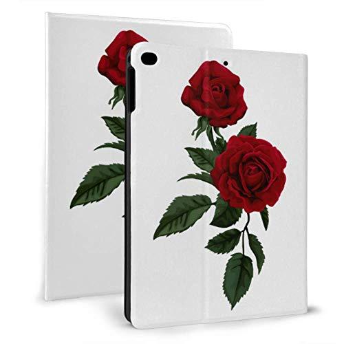 WYYWCY Niños Ipad caso rojo floral rosa flor moda Ipad cubierta bolsa para iPad mini 4/mini 5/2018 6th/2017 5th/air/air 2 con auto wake/sleep magnético colorido Ipad caso