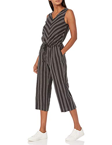 Amazon Essentials Sleeveless Linen Jumpsuits-Apparel, Schwarz gestreift, 38-40