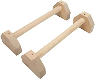 Shape Push Up Bars Calisthenics, Handstand Bar Double Rod Stretch Stand Wooden Bar with Ergonomic Handle for Calisthenics ...