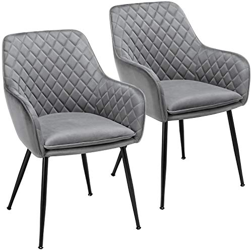 YAHEETECH Dining Chairs Armchairs Velvet Upholstered Side Chairs Modern Chairs with Steel Legs and Backrest for Kitchen Dining Room Living Room Set of 2 Gray