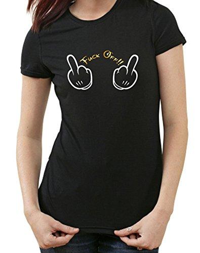 Fuck Off Mickey T-Shirt, L, Ladies schwarz