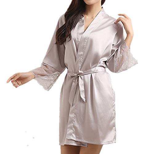 Nobrand Damen Klassischer Seidenähnlicher Nachthemd Spitze Bademantel Europäische und amerikanische Version der Hauskleidung Gr. XX-Large, Lotuswurzelstärke