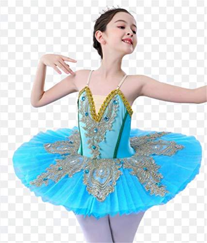 ZYLL Profesional de Ballet de Lago de los cisnes Chica Vestido de la Camiseta de la Bailarina Leotardo bordeado Dancewear Fairy Princess Dress,Azul,150CM