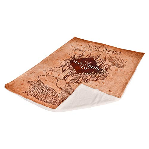 Mapa de Manta de vellón de Harry Potter del Merodeador con Teddy Sherpa 200x150cm Elbe Forest Beige 14
