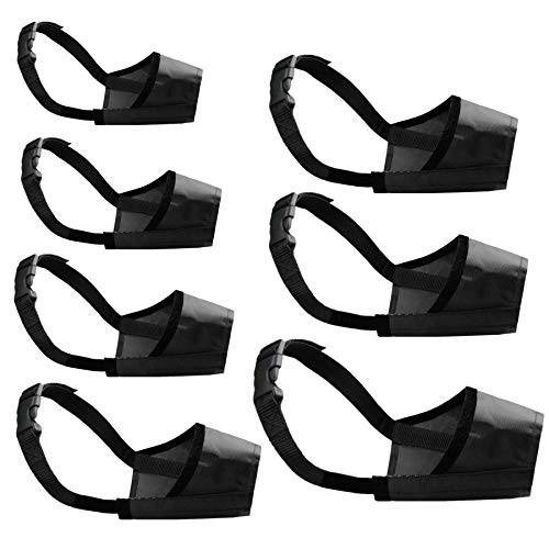 Cilkus Dog Muzzles Suit, 7 PCS Adjustable Breathable Safety Small Medium Large Extra Dog Muzzles for Anti-Biting Anti-Barking Anti-Chewing Safety Protection (Black)