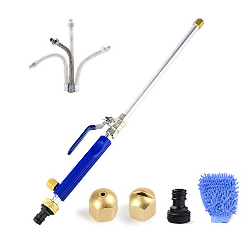 Hydro Jet Power Washer, Heavy Duty Metal Watering Sprayer with Universal Hose End, Glass Window Cleaning Sprayer Extendable Home Garden Car Water Washing, Hydrojet Power Washer Nozzle