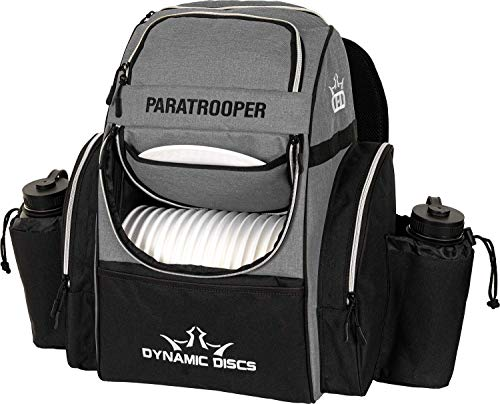 Dynamic Discs Heather Gray Paratrooper Disc Golf Bag | Frisbee Golf Bag with 18+ Disc Capacity | Extra Storage Pockets | Durable Construction