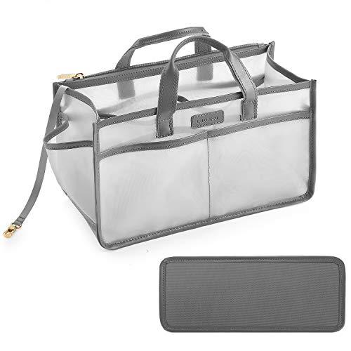 CHICECO Purse Organizer Insert with Zipper for Speedy Neverfull Tote, Nylon Mesh Handbag Organizer - Grey