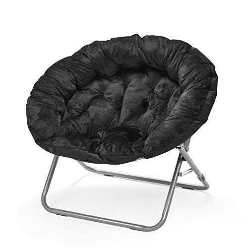 Urban Shop Oversized Micromink Moon Saucer Chair, Black - 37
