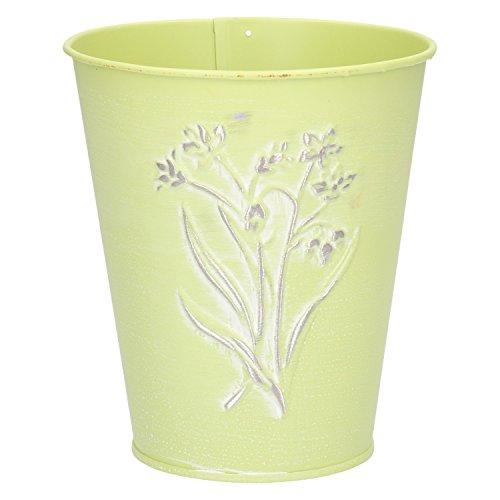 Pot vert clair métal 13 x 11,5 x 7,6 cm
