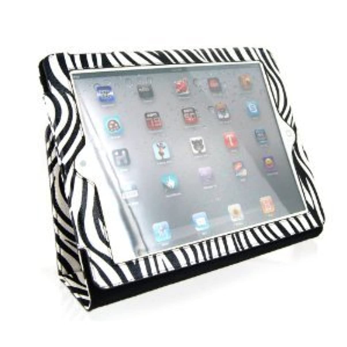 Portfolio Leather Cover Case with Stand / Kickstand and Wake up / Sleep Function (Animal Print : ZEBRA) for Apple iPad2 (iPad 2 2G 2nd Generation) 16GB 32GB 64GB BLACK / WHITE Tablet (Fits both WiFi and 3G Versions) + FREE Screen Protector + Free Screen Protector + Free WirelessGeeks247 Metallic Detachable Touch Screen STYLUS PEN with Anti Dust Plug