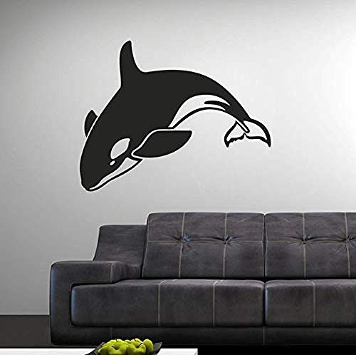 Pegatinas de pared de 57X45 cm, pegatinas de vinilo para pared, patrón de columpio de delfines, calcomanía de pared extraíble, decoración de la pared de la cama del salón