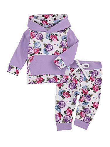 Carolilly 2 unidades de chándal de otoño para niña, sudadera con capucha de manga larga con estampado floral y letras + pantalones con corbata en la cintura de 0 – 2 años Flor 18- 24 Meses