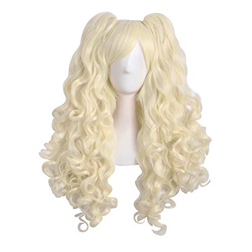 """MapofBeauty 28""""/70cm Lolita Long Curly Clip on Ponytails Cosplay Wig (Light Blonde)"""