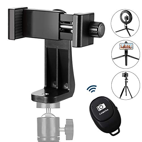 ZOMEi Phone Mount Tripod Adapter with Camera Shutter Remote Control, for iPhone, Samsung Galaxy (iOS and Android) Most Smartphones, Rotate in Vertically and Horizontally Way, Create Amazing Photos
