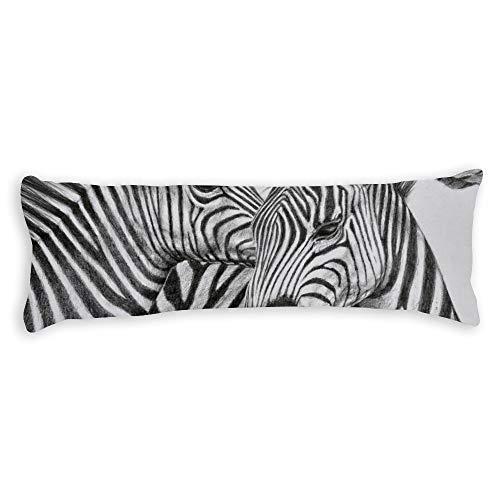 Fhdang Decor Zèbre Body Pillow Case Coton Doux Lavable en Machine avec Fermeture éclair Maternité Grossesse Taie d'oreiller, Coton, Single 3ft (36'')