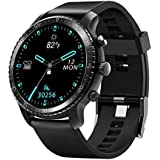 Tinwoo Smart Watch for Android/iOS Phones, Support Wireless Charging, Bluetooth Health Tracker with Heart Rate Monitor, Digital Smartwatch for Women Men, 5ATM Waterproof (TPU Band Black)