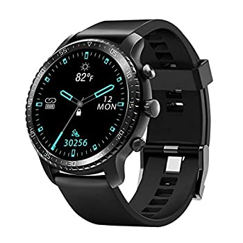 Tinwoo Smart Watch for Android / iOS Phones,46mm Support Wireless Charging,Bluetooth Health Tracker with Heart Rate Monitor,Smartwatch for Women Men 5ATM Waterproof  22mm TPU Band Black