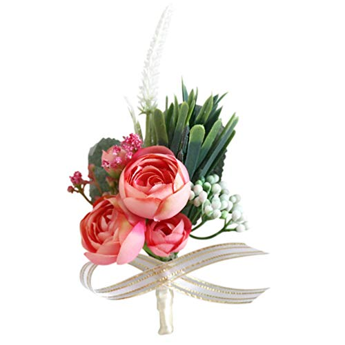 Tomaibaby Wedding Flower Corsage Rose Wrist Boutonniere Buttonholes Bride Wristband Men Boutonniere for Groom Wedding Ceremony Party