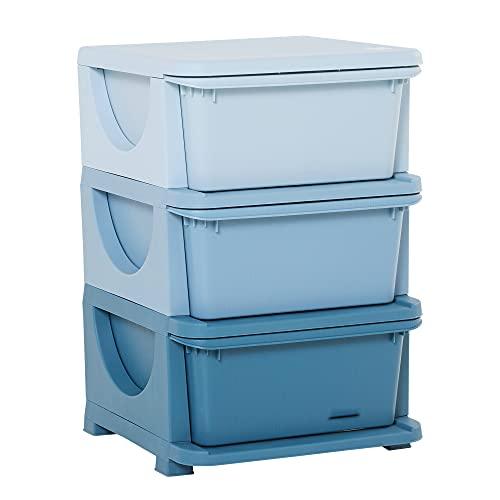 homcom Cassettiera in Plastica Colorata per Cameretta con 3 Cassetti, Arredamento Casa e Asilo 37x37x56.5cm Blu