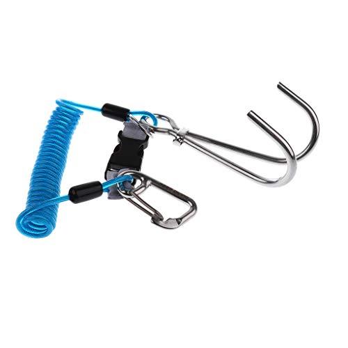 MMI-LX Buceo Gancho de Acero Inoxidable 316 con Doble Bobina Espiral de la Cuerda de Seguridad for el Buceo Gratis de Buceo Buceo Buceo Piscina Piscina (Color : Blue)