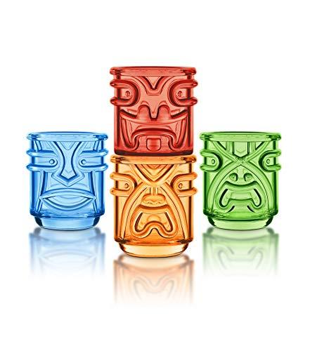 Final Touch TIKI Stapelbar TUMBLERS Glas Cocktailgläser COLOURED Farben 355ml Hawaiian Themed 4 Stück - TK5302