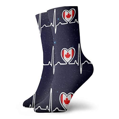 tyui7 Personalisierte Kanada-Flaggen-Herzschlag-Stolz-Socken-bunte Spaß-Sport-athletische Strümpfe für Mann-Frauen