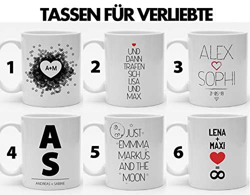 Personalisierbare Tasse für Verliebte | Hochzeitsgeschenk | Gastgeschenk | Sechs Kaffeetassen zur Auswahl für Liebespaare | Schöne Geschenkidee