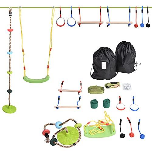 Outsunny Ninja Slackline Set hängende Hindernisse für 5-12 Jahre Kinder Schwingen Outdoor Polyester PP Holz Mehrfarbig
