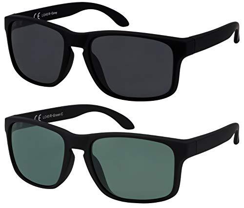 La Optica B.L.M. Sonnenbrille Herren UV400 Retro Sportbrille Fahrradbrille - Doppelpack Set Gummiert Schwarz (1 x Grau, 1 x Grün Klassisch)