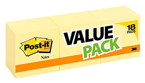 Post-it Notes 3 in x 3 in, 18 Pads, America'ss #1 Favorite Sticky Notes, Canary Yellow, Clean Removal, Recyclable (654-14+4YW)