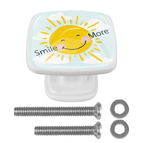 Perilla cuadrada de hardware de gabinete Blanco Sol sonriente Perillas de vidrio de colores para tocador con tornillos de montaje, 4 paquetes 3x2.1x2 cm