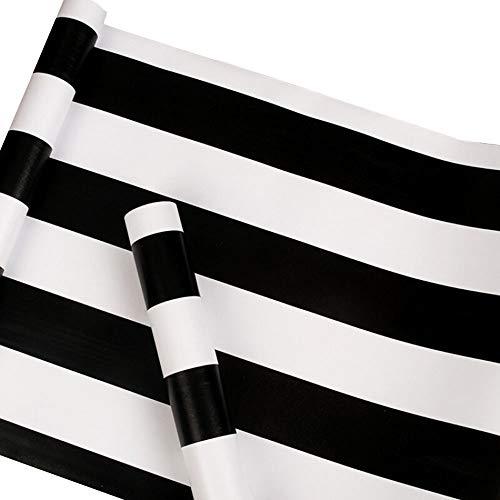 Papel pintado de vinilo a rayas blancas y negras de papel de contacto, autoadhesivo, con rayas, para cajón, armarios, muebles, papel de pared, extraíble, 17.7 x 117 pulgadas