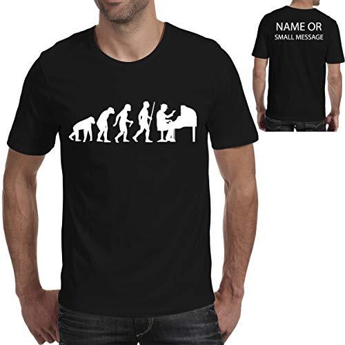 MGEAR Evolutie van Piano Muziek Grappige Mannen T Shirt T-Shirt Aangepaste Tekst Gedrukt T-shirt Verjaardag Present Zwart