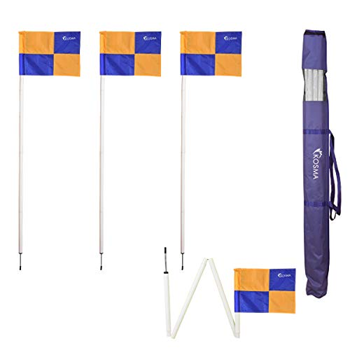 Kosma Set van 4PC Inklapbare Hoek Vlag | Opvouwbare Voetbal Training Hoek Vlag Pole Grootte: 5 Ft x 25mm - Witte Paal met Metalen Spike & Geel/Blauw Quadrant Patroon Vlaggen - in draagtas
