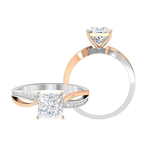 D-VSSI Princess Cut Solitaire Moissanite Rings, 1.68 CT Moissanite Halo Engagement Rings, Two Tone Side Stone Rings, Statement Wedding Rings Set, 14K Rose Gold, Size:UK Z+2