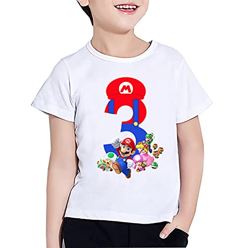Super Mario Número 1-9 Camiseta Estampada Niños Niñas Regalo de cumpleaños Feliz Ropa Cartoon Game Funny Divertido Verano Tshirt Manga Corta Blanca
