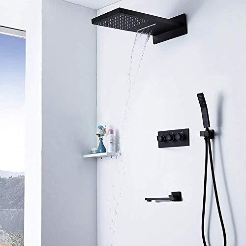 GENFALIN Ducha Sistema, ducha de lluvia, grifo de la ducha con el conducto de la tina y ducha de lluvia cabeza montado en la pared grifo de la ducha (Contener grifo de la ducha áspero-en la válvula)