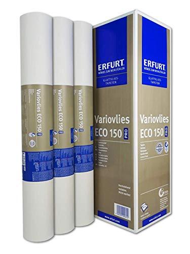 Erfurt 1000630 Eco-Vlies EV 150g/qm Variovlies Malervlies überstreichbare Vliestapete, weiß, 3 Rollen