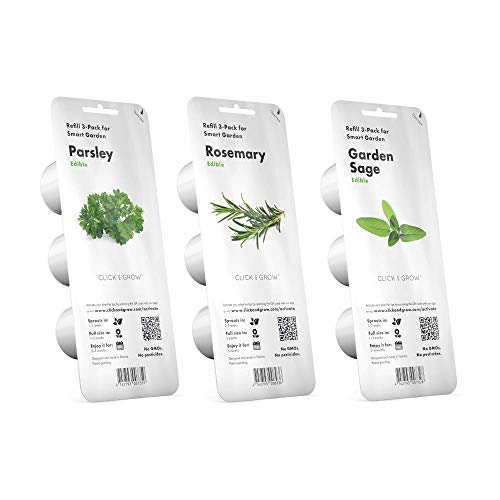 Click & Grow Starter Pack - Set di 3 confezioni di capsule per Smart Garden 3 e Smart Garden 9 C&G: Prezzemolo, Rosmarino e Salvia