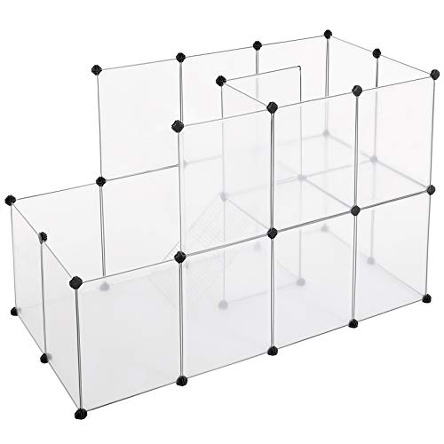 SONGMICS Guinea Pig Playpen with Dense Ramp, Indoor Rabbit Run Hutch Cage, Large Exercise Enclosure with Stairs, DIY Plastic Modular Fence for Hamster, Pet, Small Animals, Transparent ULPC03W